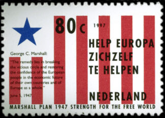 a dutch postage stamp with commemorative text within it