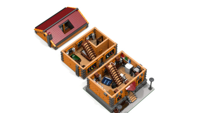 A lego model of a house exploded into three separate stories