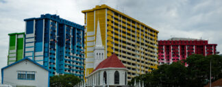 Colourful high rise public housing buildings in Singapore