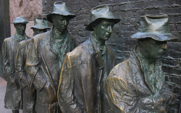 Statue at FDR memorial of men in an unemployment line