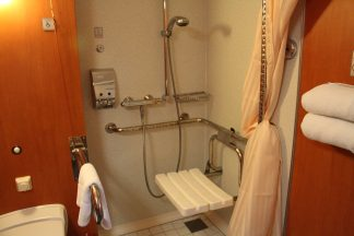 Roll in shower with hand rails in an accessible bathroom.