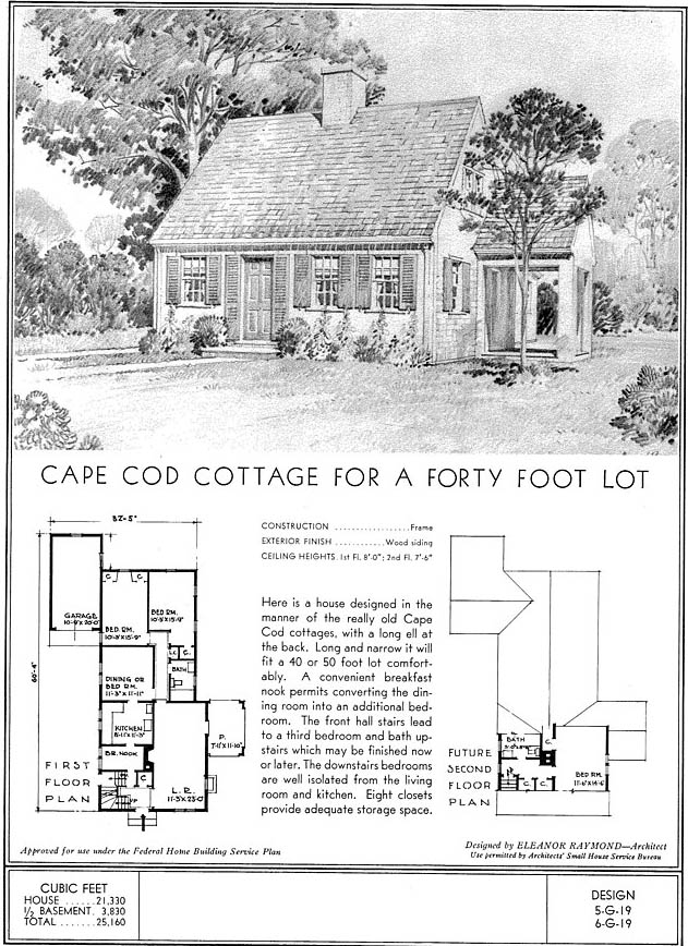 architect's drawing and plan for a cape cod cottage