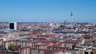 A view of Berlin, Germany over the roofs of many apartment buildings