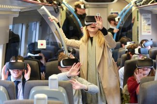 Chiltern Commuters with Virtual Reality Headsets on