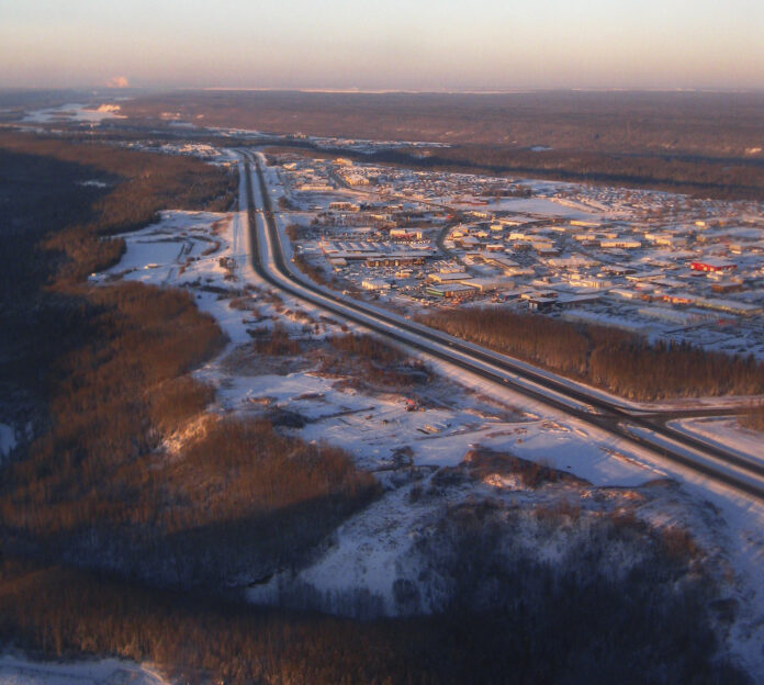 An arial view of a snowy Fort McMurray in winter