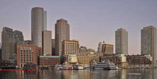 A view across the harbour of downtown Boston, Massachusetts