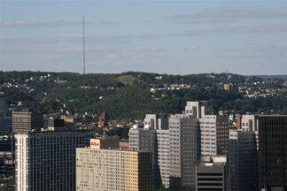 A number of what appear to be Pittsburgh high rise residences