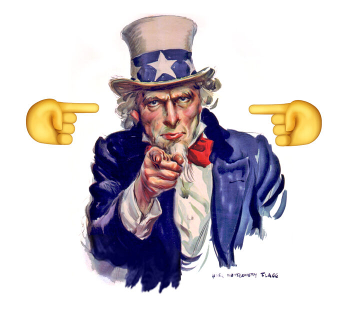 The classic image of uncle sam with two cartoon hands pointing at his head from left and right