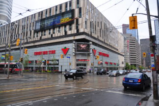southeast corner of Dundas and Bay, site of Ryerson University and Canadian Tire