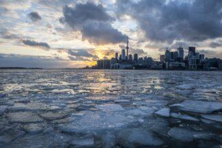View of Toronto ice-strewn harbour