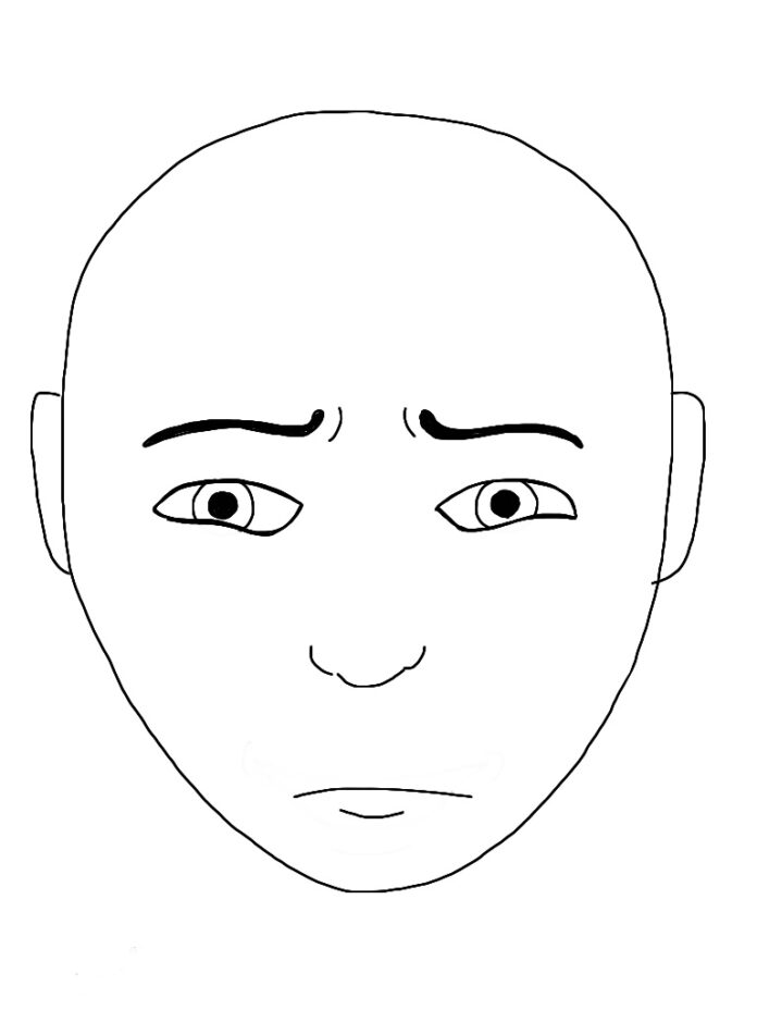 line drawing of face with pinched eyebrows