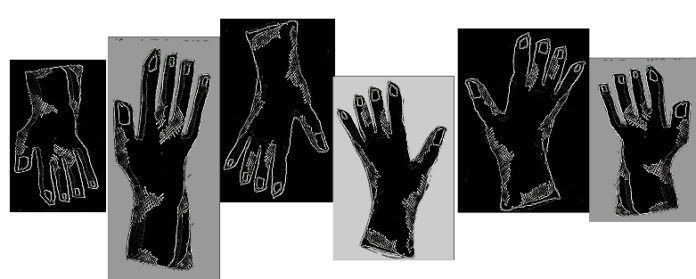 six sketches of hands