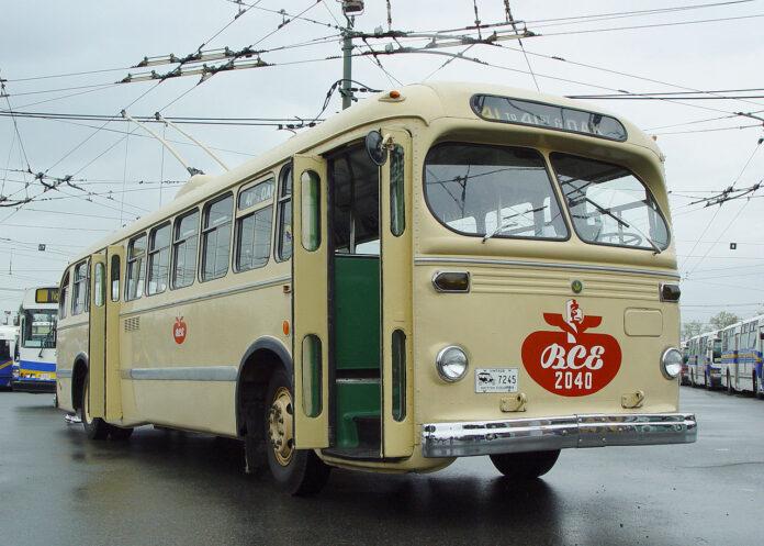 restored transit bus at transit centre
