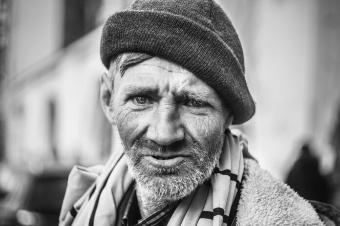The grizzled face of a chronic homelessness victim