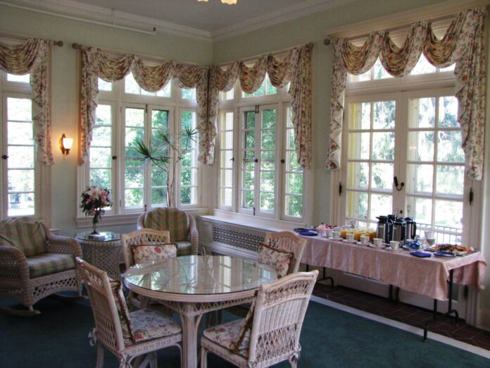 lounge with comfy chairs, graceful curtains and snacks