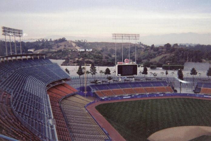 view of Dodger stadium with Elysian Park Heights in the background