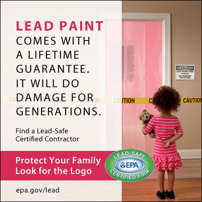 Poster with picture of child, warning of the dangers of lead paint