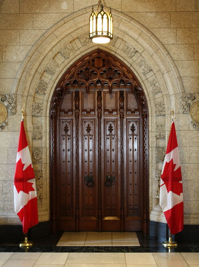 doors at entrance to the House of Commons in Ottawa