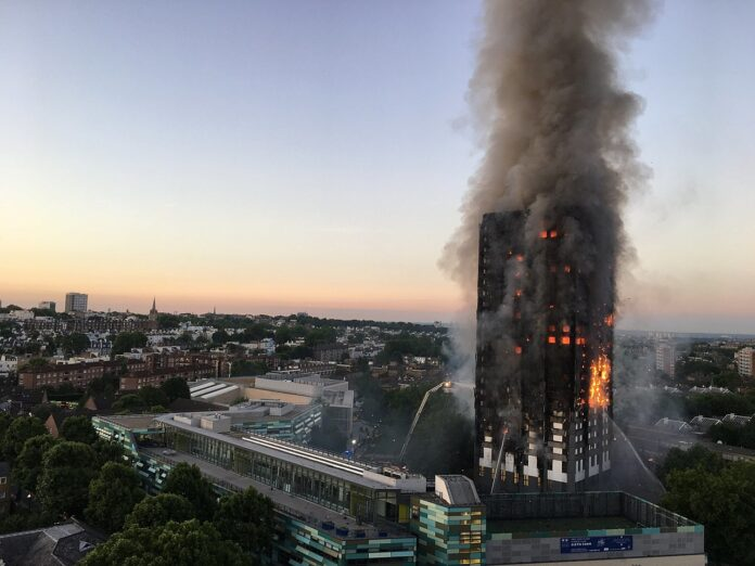 view of grenfell fire and surrounding neighourhood