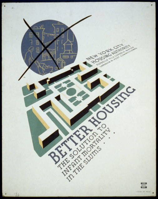 1930's poster promoting planned public housing to replace slums
