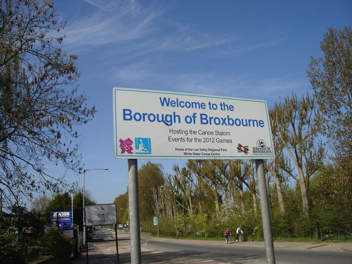 road sign for the borough of Broxbourne