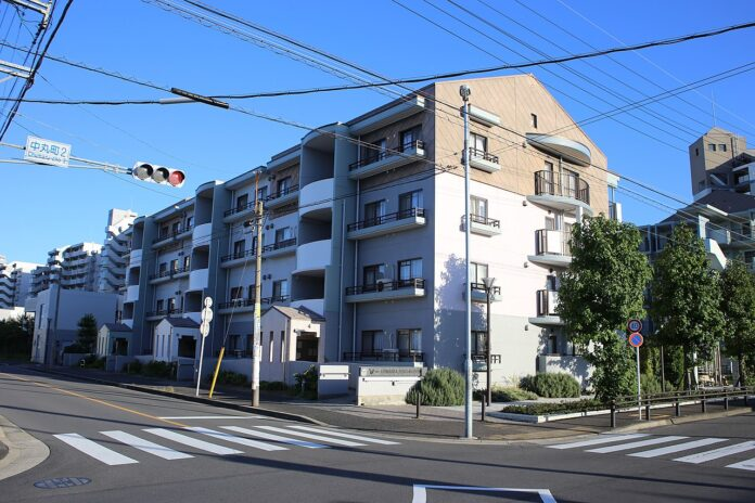 multi level apartment building in Japan