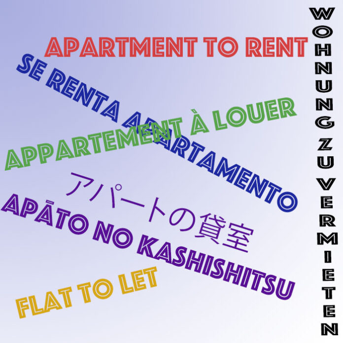 The words apartment to let in five different languages