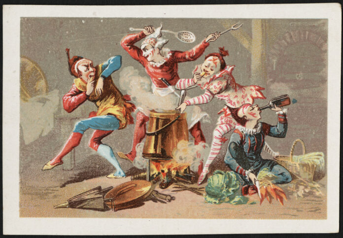 An 18th century rendition of four clowns cooking over a wood fire