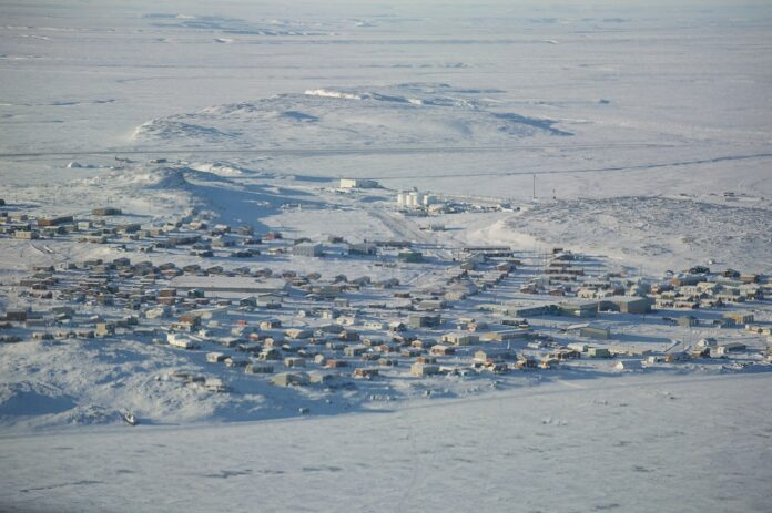 view of Kugluktuk, under snow, from the air