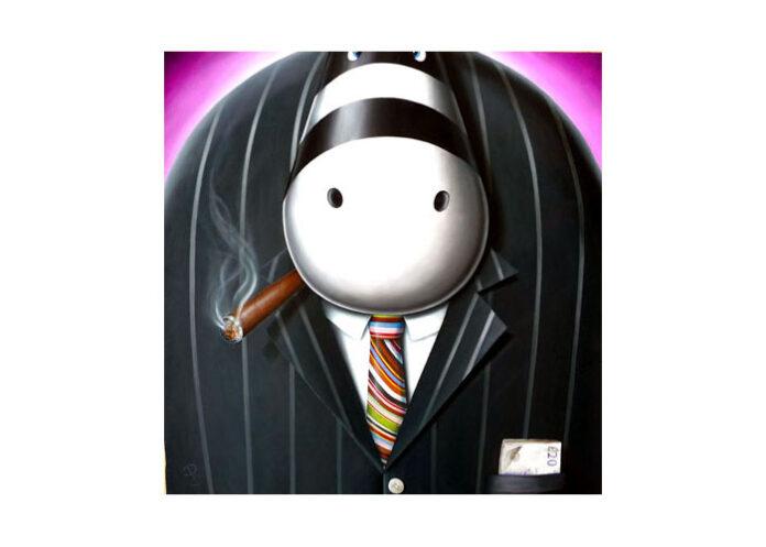 A fat, dominating cartoon figure of a pinstriped businessman