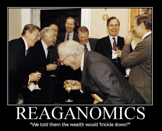 A phot of Reagan and other White House officials laugh in a picture entitled