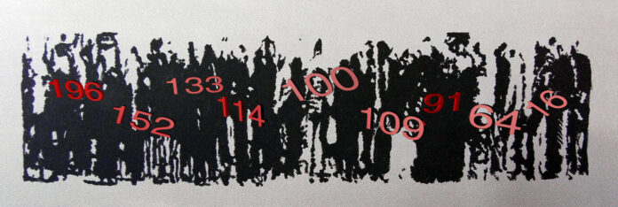 an abstract image of people standing in a queue is superimposed with a ascending number order 1,2,3,4,5 etc.